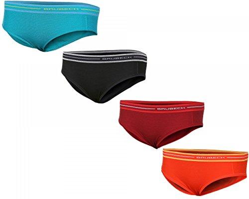 BRUBECK® SET / 4x HI10190 ACTIVE WOOL Damen Hipster Slip | Merino | Funktional | Sportslips | Fitness | Funktionswäsche | verschiedene Farben, Größen:L (Merinowolle Unterwäsche Kurz)