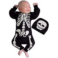 Bestow Camiseta con Estampado de Esqueleto de Halloween de Manga Larga para niños, con Parte Superior y pantalón de Dos Piezas