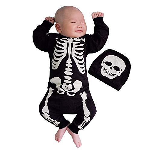 Baby Body Strampler Jungen Mädchen Neugeborenen Langarm Schädel Drucken Strampler Overall mit Hut Säugling Spielanzug Baby-Nachtwäsche Halloween Kostüm von (Baby Halloween Kostüme Schwarze Katze)