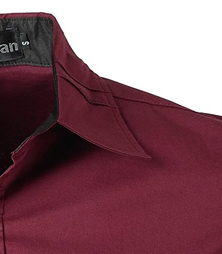 jeansian Herren Freizeit Hemden Shirt Tops Mode Langarmlig Men's Casual Dress Slim Fit 2028 2028a_WineRed
