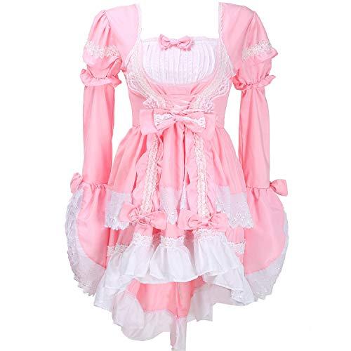 Kostüm Rosa French Maid - LIUONEXI Damen Lolita Cosplay Gothic Karneval Fasching Kostüm Abendkleid gotische Kleider Abendkleider (Rosa)
