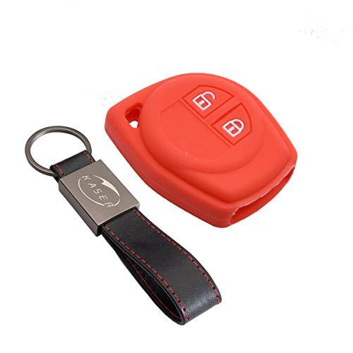 Funda Silicona para Llave Suzuki - Carcasa Llaveros para Coche Suzuki Alto Baleno Grand Vitara Ignis Jimny Karimun Wagon Cover Case Protección Mando Distancia Auto (Rojo)