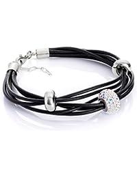 LillyMarie Damen Lederarmband Original Swarovski Elements Beads Silber Weiß  Längen… 05abfc87d7
