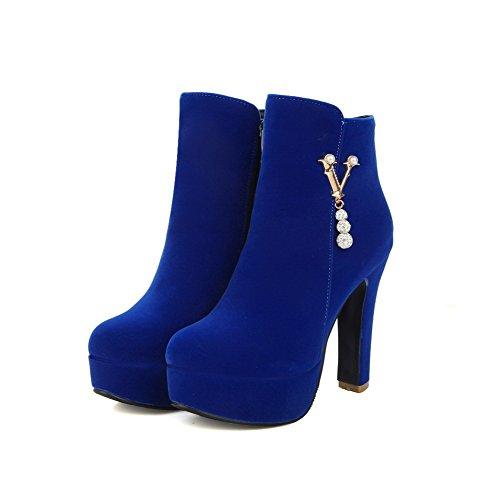VogueZone009 Donna Cerniera Punta Tonda Tacco Alto Bassa Altezza Stivali Azzurro