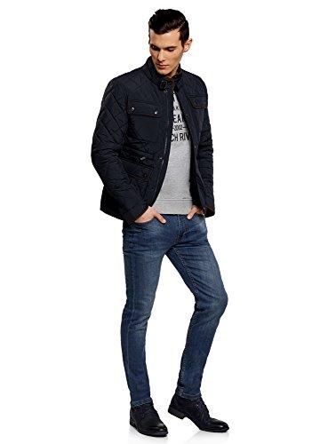 oodji Ultra Herren Steppjacke mit Aufgesetzten Taschen Blau (7900N)