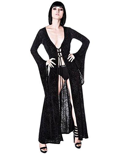 Killstar Damen Burnout Morgenmantel Samt - Burn Baby Burn Duster Okkulte Symbole S (Burnout Kleid Jacke)
