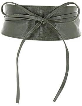Fashiongen - Cinturón obi cuero artificial Mica - Caqui, Talla única