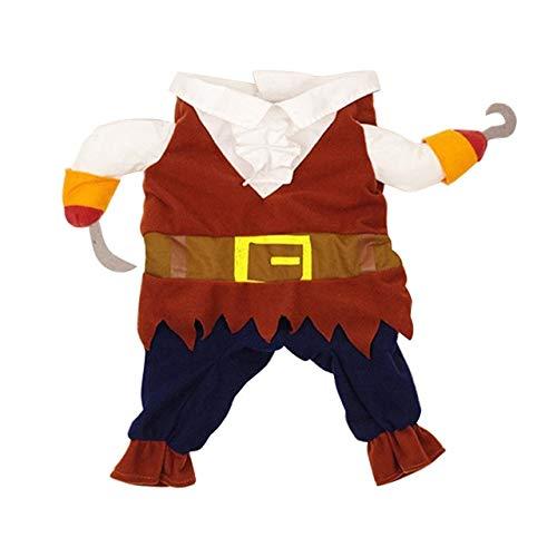 MSSJ Haustier-Kleidung Cosplay Piraten-Hundekatzen-Halloween-Netter Kostüm-Kleidungs-Komfort für kleinen mittleren Hund M (Eine Lady Pirate Kostüm)
