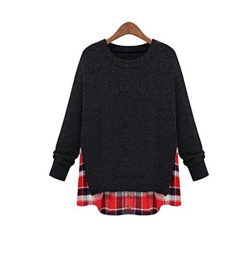 damen strickpullover mit rundhalsausschnitt elastizität übersteigt blusen pullover beiläufige hohle sweatshirts langarm retro sportswear t shirt . deep gray . xl
