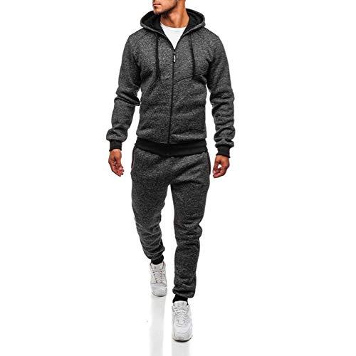 (TEBAISE Herren Jogging Anzug Trainingsanzug Sportanzug(Dunkel grau,M))