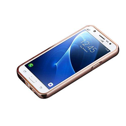 Minto Luxus Aluminium Metall Spiegelhülle Schutzhülle + Panzerglasfolie iPhone 5 / 5S / SE Spiegel PC Rückseite Case Cover Hülle Gold + Metall Bumper Rahmen Echtglas Hartglas Schutzfolie 9H Gold -j3 2016