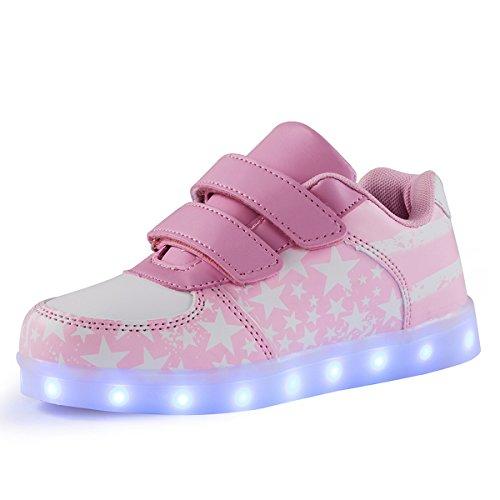AFFINEST Kinderschuhe LED Sportschuhe USB Aufladen 7 Lichtfarbe Sternen Leuchtend PU Sneaker Turnschuhe(Rosa,30)