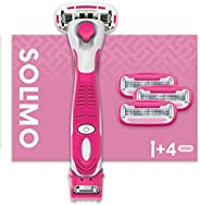 Amazon-Marke: Solimo 5-Klingen-Damenrasierer mit 3-in-1-Trimmer und 4 Ersatzklingen