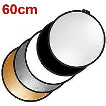 TARION 5 en 1 Réflecteur de Lumière professionnel / Panneau diffuseur pliable environ 60 cm Or, Argent, Noir, Blanc et Translucide pour studio photo et photographie en plein air