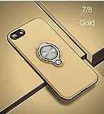 Compatible con iPhone 7, Funda con Clip para Anillo TPU Bumper Protección Trasera Resistente a los arañazos Que Absorbe los Golpes (Oro)
