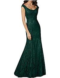 Gorgeous Bride Luxury Rundkragen Meerjungfrau Satin Spitze Lang Abendkleider Festkleid Ballkleid