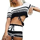 QingJiu Frauen sexy Strickwaren Streifen Kurzarm Pullover Mode Lange Tops Hosenanzug(Weiß,X-Large)