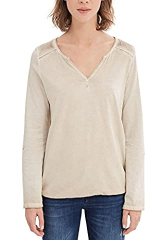 ESPRIT Damen Langarmshirt 027EE1K011 Beige (Light Beige 290), 34 (Herstellergröße: XS)