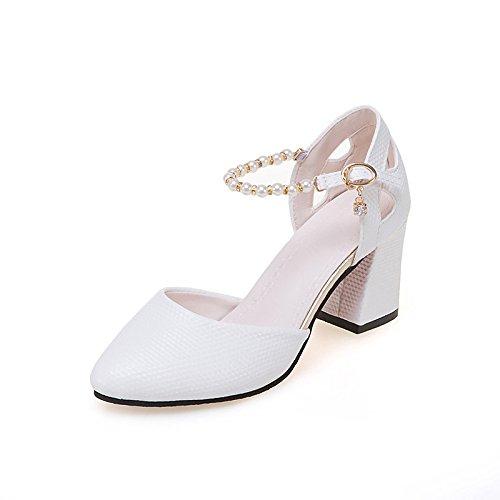 U Feder Komfort Fersen Ferse Spitze Zehe Pearl für Casual Rosa Weiß, Weiß, EU/US6 36/UK4/CN 36 (Spitze Gogo Stiefel)
