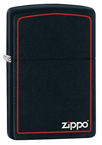Zippo Original Feuerzeug Black Matte with Border & Logo