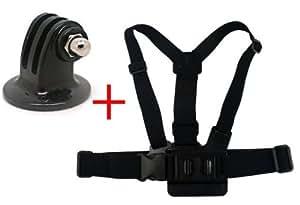 OEM-Stativ-Kamera-Mount-Adapter + verstellbare elastische Körper Brust Schnallen Gurt für GoPro HD Hero 2 3