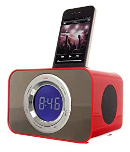 KitSound Clock Radio Dock for iPod and iPhone 4S/4/3GS/3G, iPod Nano 5th Generation and iPod Touch 4th Generation - Red