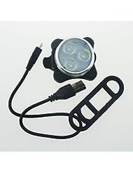 NSD lumière blanc pour éclairage 3LED avant de vélo vélo rechargeable USB avec batterie rechargeable à l'intérieur