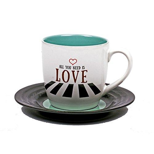 Lyrical Mug - Ensemble-Cadeau de Tasse et Soucoupe Céramique avec Paroles de Chanson Amour2 - John Lennon & Paul McCartney - Autorisé par Sony/ATV - Thumbs up! - 1001708