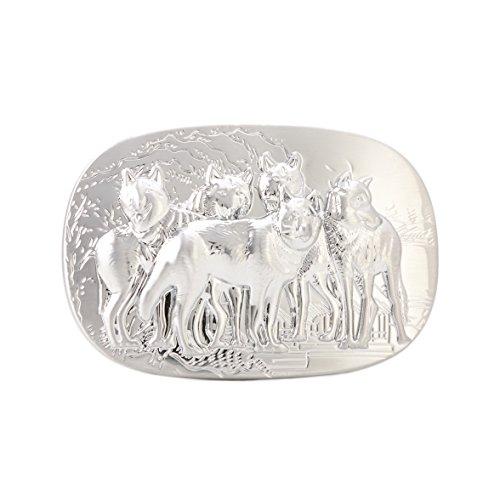 Gurscour Westlich Antike Silber Gravierte Blume Jahrgang Fünf Wolf Gürtelschnalle (Gürtelschnalle Wolf)