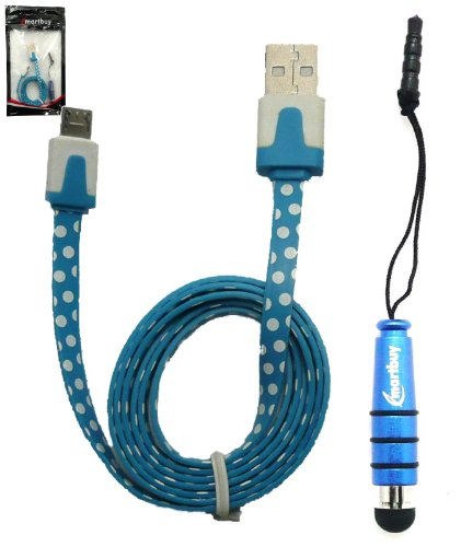 Emartbuy Punktmuster Range Duo Packfür Mobistel Cynus E8 5 Zoll Smartphone - Blau Mini Eingabestift + Punktmuster Blau / Weiß Flaches Anti-Tangle Micro USB kabel