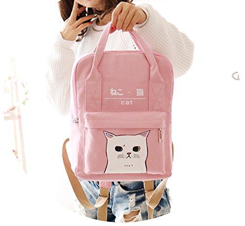 Rucksack im japanischen und koreanischem Stil mit Kawaii-Katze-Muster für Damen und Mädchen rose