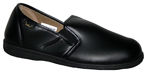 Dr Keller Chris pantofole da uomo in ecopelle con velcro nero black slip on