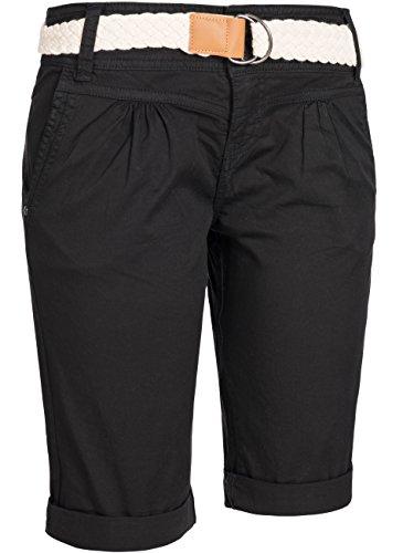 Fresh fabriqué short chino pour femme stretch pantalon 60080 capri pantacourt bermuda Noir