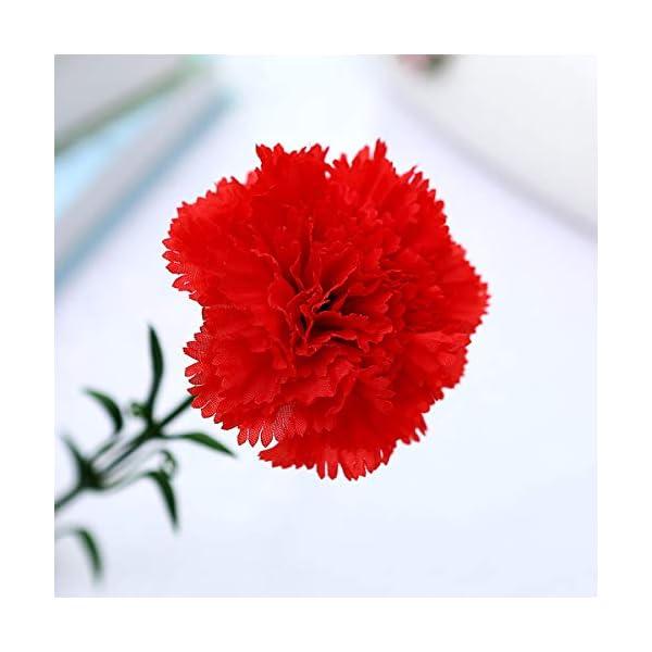 Amosfun Flores Artificiales de claveles Falsos arreglos de Clavel de Seda Ramo con Tallos para el día de la Madre Boda…