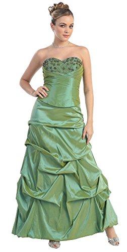 Nachtigall+Lerche Ballkleid bodenlang Abendkleider für Hochzeit Brautjungfernkleid lang Brautmutterkleid elegant Abschlussballkleid gerafft (42, Olive)