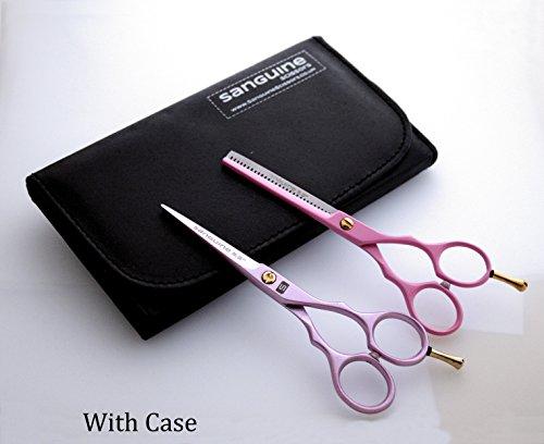 Lot de ciseaux de coiffure professionnels et ciseaux à effiler 14 cm Rose