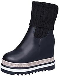 Tefamore Moda Mujer Cuñas Rodilla-Alto Botas Algodón-acolchado Zapatos Caliente invierno