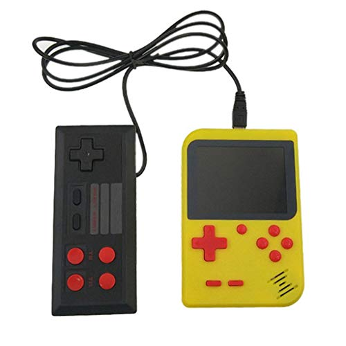 DingLong Mini Video Handheld Spielekonsole Kinder Super Mario, GC26 Verdoppelt Spiel 400 Retro-3,0-Zoll-LCD-8-Bit-Portable (Yellow)