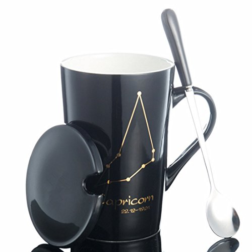 arze Milch Becher mit goldener Konstellation Gemälde JINCHANGWU Kaffeetasse mit Löffel ausstatten und Becherdeckel schwarze Tasse - Steinbock (Personalisierte Tassen Trinken)