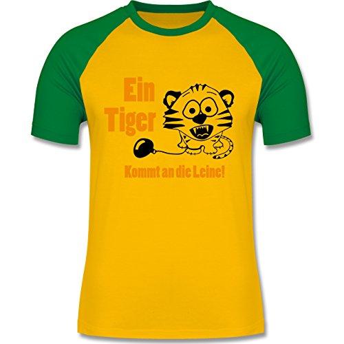 JGA Junggesellenabschied - Ein Tiger kommt an die Leine - zweifarbiges Baseballshirt für Männer Gelb/Grün