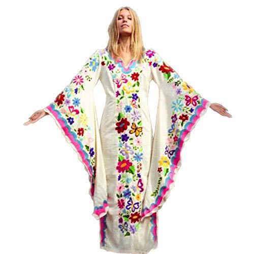 WNLZL Frauen böhmischen Blumenmuster Wrap V-Ausschnitt mit weiten Ärmeln Split Beach Party Maxi-Kleid für Strandurlaub Berufung,White,S (Kleider Luau Womens)