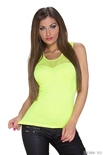 B[ ]X Damen Top, Einfarbig Gelb - Gelb