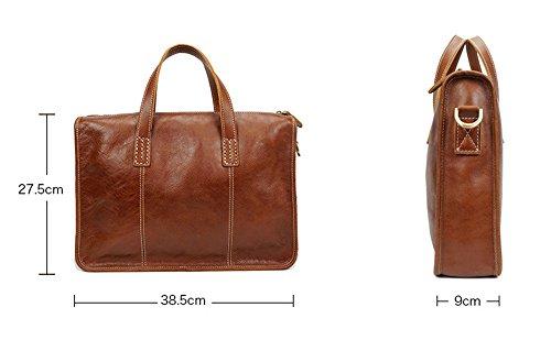 Xinmaoyuan uomini borsette in cuoio Business retrò Borsetta tracolla messenger bag lato Vera Pelle Casual pacchetto maschio,caffè Brown