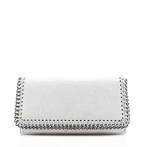 LeahWard® Damen Synthetik Leder Kette Klappe Geldbörsen Brieftasche Für Sie Zum Damen(Licht Grau) - Leder Trim-licht