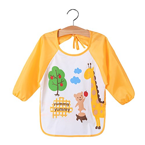 Kids-Waterproof-Long-Sleeve-Art-Smock-Bibs-Apron-For-Painting-Artwork-Feeding-Giraffe