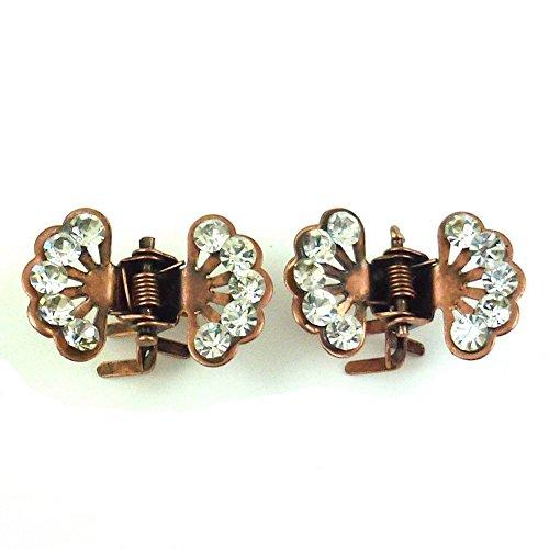 rougecaramel - Accessoires cheveux - Mini pince crabe fleur en strass 2pcs - cuivre