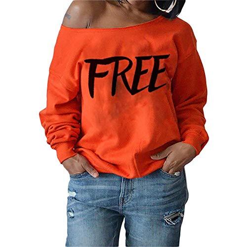 Tops Damen Eine Schulter Free Letters Print Sweatshirt Perfect Frauen Kausalen Pullover Langarm Shirt T-Shirt Oberteile Herbst Style (Color : Orange, Size : S)