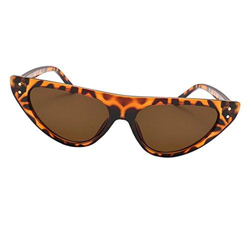 Baoblaze Mode Katzenaugen Sonnenbrille Für Damen UV400 schutz reflektierenden Spiegel - Leopard Frame Brown Lens, wie beschrieben