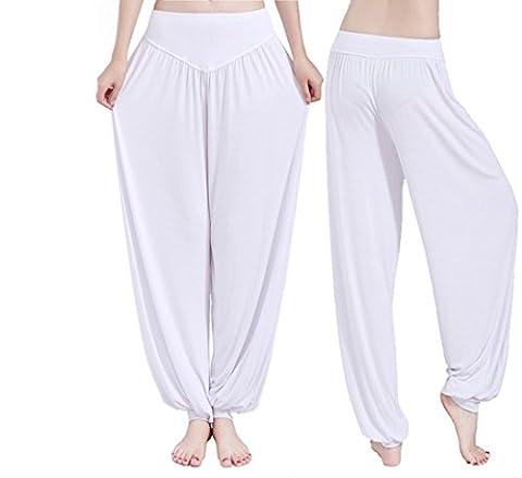 Hippolo Femmes Yoga doux Harem Pilates Lounge Pants Leggings (L, Blanc)