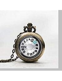 Reloj de bolsillo con colgante para cámara, esfera de fotografía, collar, reloj de bolsillo, esfera de cámara, colgante de fotografía, reloj de bolsillo, joyería de azulejos, esfera de cristal y esfera de cámara, reloj de fotografía, esfera de cámara, colgante de fotografía